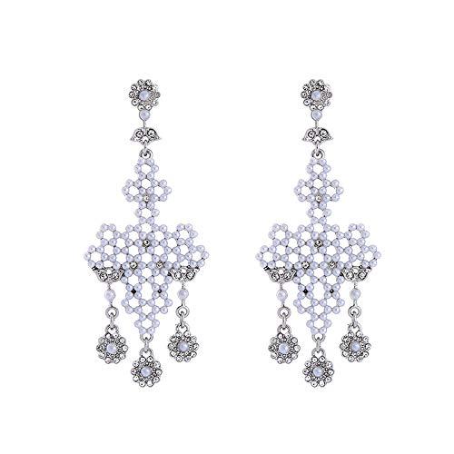 QYMX Ohrring Frauen, Frauen Nachahmung Perle Ohrringe Weiß Acryl Perlen Strass Blume Kronleuchter Baumeln Ohrringe Modeschmuck
