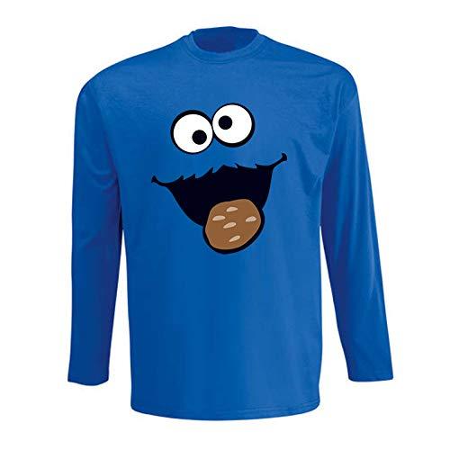 Jimmys Textilfactory Longsleeve Krümelmonster mit Keks Karneval Kostüm Sesamstraße Herren 116-5XL Gruppen-Kostüm Rosenmontag Party Feier, Größe:3XL, Farbe:Royalblau (Cookie Monster Kostüm Für Herren)