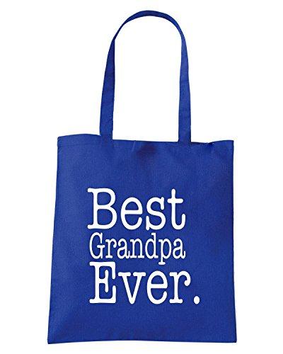 T-Shirtshock - Borsa Shopping FUN0751 BestGrandpaEver Blu Royal