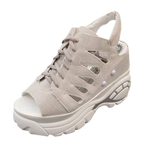 Sandalen Damen, Mode Damenmode Fischmaul Dicke Plattform Sommer Plateauschuhe Slipper Schuhe Keilsandaletten(Grau,EU 36)