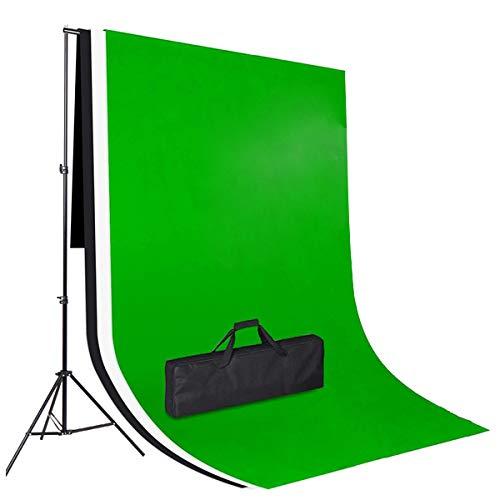 Amzdeal Fonds Support Système, avec 3 Toiles de Fond Vert/Blanc/Noir 2m×1.6m en Tissu Non-Tissé, Support 3m*2m Réglable en Hauteur 65-200cm pour Photographie Portrait Objet Vidéo Studio Photo