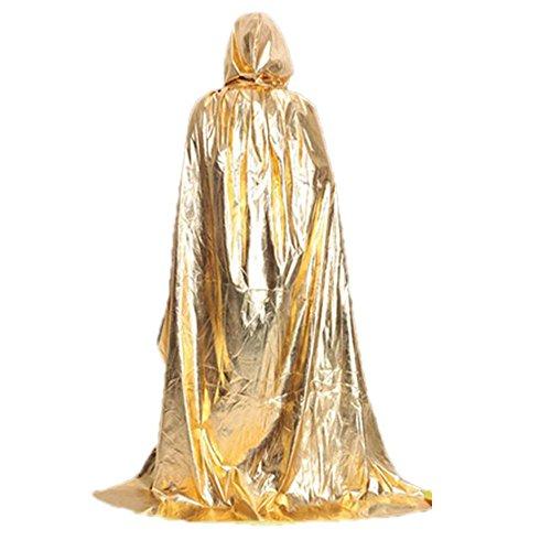 HLHN Damen Herren Halloween Party Kapuzen Umhang, Mittelalterlicher Hexe Satin Karneval Fasching Kostüm Cape mit Kapuze 3 Farbe für Jugend(150cm) (Gold)