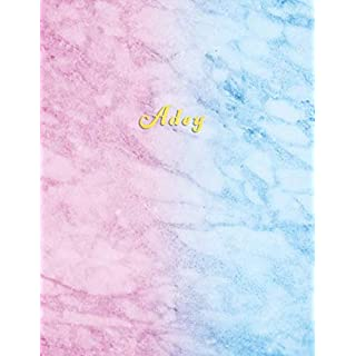 Adey: Personalized college ruled journal for girls | Standard lined size composition exercise note book