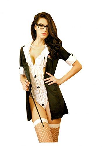 Damen Kleid Babydoll Schulmädchen Dessous Set School-Girl Kostüm Uniform Reizwäsche Lingerie Nachtwäsche Cosplay Kostüm mit Nerd Brille Rahmen