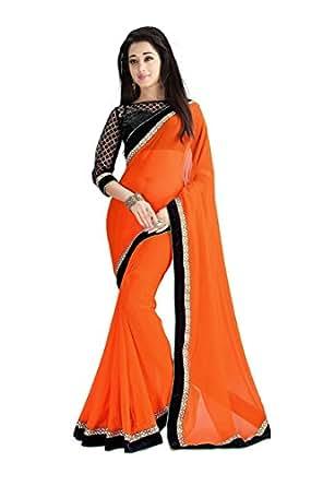 Venisa Chiffon Saree (Orange)