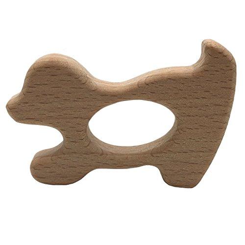 Wanfor Baby Beißring Holz Diy Tier Rassel Bio Beißring Baby Spielzeug Holz Beißring DIY Zubehör, Hund Form - Kauen Schnuller-clip