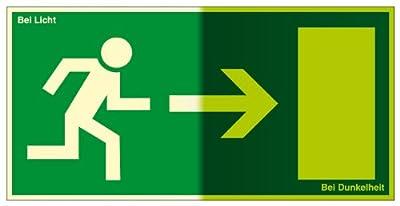 Fluchtwegschild aus Kunststoff, lang nachleuchtend - Rettungsweg rechts - Seitenlänge 10x20 und 20x40 cm