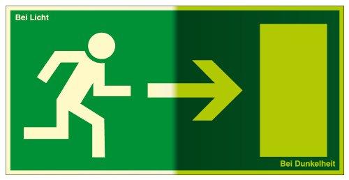 Fluchtwegschild aus Folie, lang nachleuchtend - Rettungsweg rechts - 10 x 20 cm