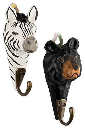 2Perchero Gancho madera oso Zebra ganchos metal