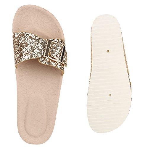 Damen Sandaletten Glitzer Nieten Pantoletten Schlappen Schuhe Gold