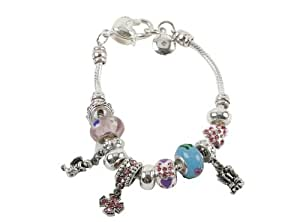 Sophia Glass Bead &Crystal Stone Charm Bracelet - Blue & Pink