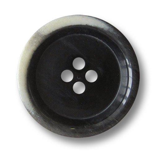Knopfparadies - 8er Set schwarz glänzende Vierloch Kunststoffknöpfe mit naturweißem Farb Akzent / Schwarz / Kunststoff Knöpfe / Ø ca. 15mm -