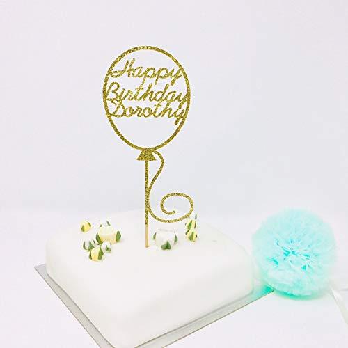 Andrea1Oliver Personalisierte Ballon Name und Alter Geburtstag Cake Topper 20. 30. 40. 50. 60. 70. 80. 90. 100. (Ballons Benutzerdefinierte Geburtstag)
