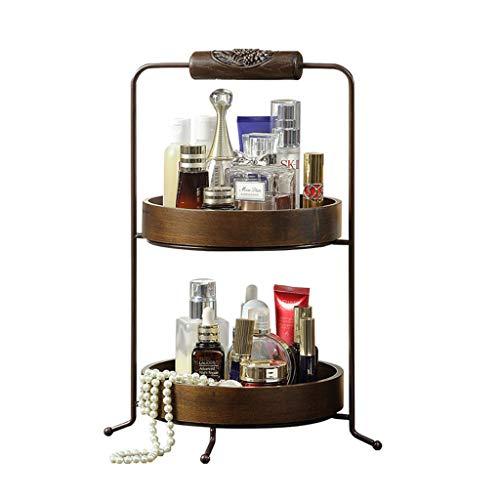 LIYANSNH Cosmetic Organizer 2-Tier-Makeup-Hautpflege-Speicher-Organisator-Halter-Harz und Metall für Küche Countertop Badezimmer-Schlafzimmer