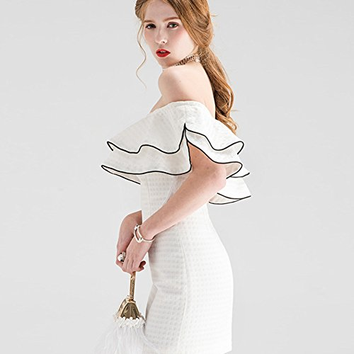 iShine Damen Abendkleider Meerjungfrau Strapless Slim Fit Bodycon Kleid Weiß