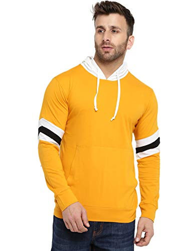 GRITSTONES Men's Cotton Full Sleeves Hooded T-Shirt (GSFSHDTSHT2193YELLWHTBLK_L _Yellow_ Large)