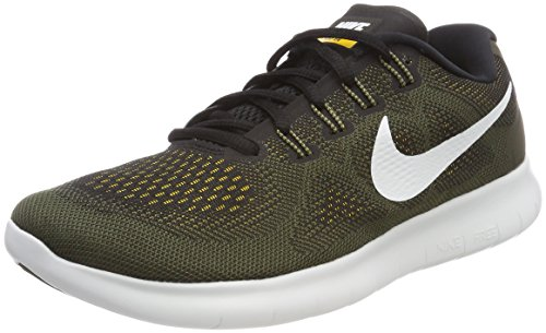 Nike Herren Free Run 2 Laufschuhe Schwarz (Black/Off White-Cargo Khaki-Laser Orange 008) 42.5 EU