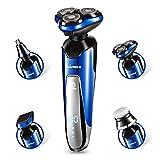 Fashion·LIFE 4 in 1 Elektrische Rasierer für Herren Rotationsrasierer Elektrorasierer Trocken & Nasse -IPX 6 Wasserdicht Rasierer für Täglicher und Reisen - Blau,Für Europa
