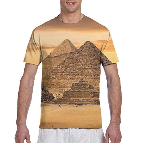 Zhgrong Men Tee Shirts Egypt Pyramids1 Short Sleeve T-Shirts Crew Neck T Shirt