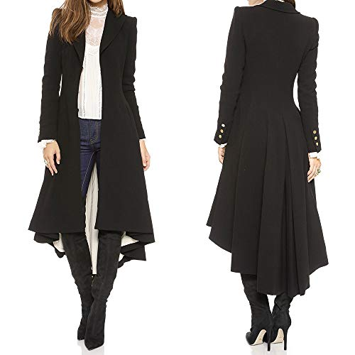 (Gothic Mantel Damen, Oyedens Frauen Schwanz-Mantel Trenchcoat Mantel Lange Outwear Wollmantel Tuxedo Slim Wolljacke Winter-Warmer)