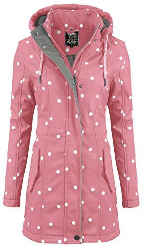ODYSSEE Damen Softshell Mantel gepunktet Parka Jacke Kapuze Outdoor Übergang, Größe:M, Farbe:rosa