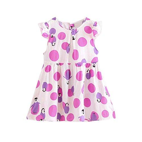 Baby Kinder Mädchen Kleid Kleinkind Prinzessin Party Blumendruck Tutu Lila (5 Jahre) (Lila Tutus Für Kleinkinder)