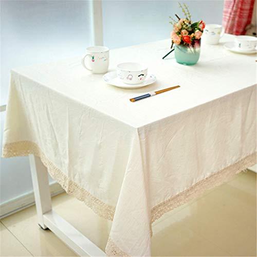 SONGHJ Hochwertige Spitzenkante Tischdecke dekorative Tischdecken Leinen Tischdecke Wohnkultur Uni Tischdecken Beige 140x180cm