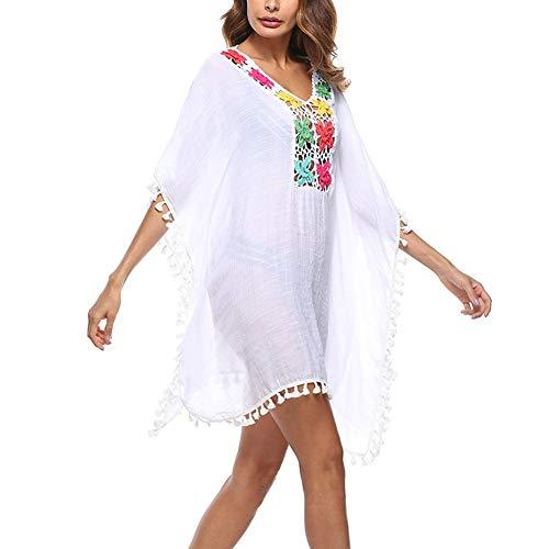 Hand Crochet-kleid (BOLAWOO-77 Frauen Farbige Quaste Durchsichtig Crochet Tunika Strand Vertuschen Bademode Mode Marken Sommer Bikini Schwimmen Kleid (Color : Weiß, Size : One Size))