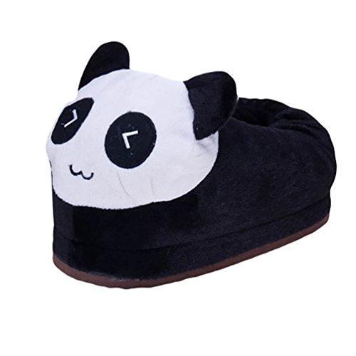 YOUJIA Chaussures d'intérieur pour Adulte et Enfant - Animaux Chausson en Peluche Chaudes Hiver Fantaisie Souple Pantoufle, Panda