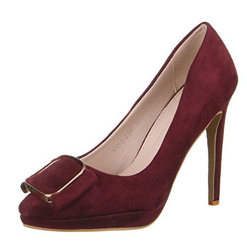 Damen Schuhe, KV62-29K, HIGH HEELS PUMPS Weinrot
