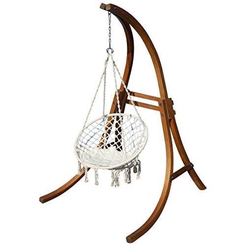 AS-S Design Chaise Suspendu Cat-Cruz avec Support en mélèze de Bois et Coussin de