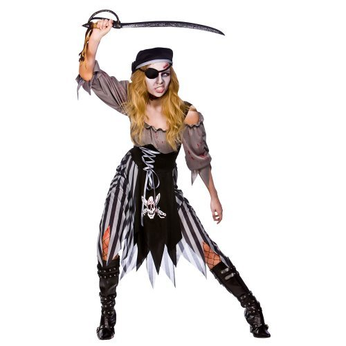 (Xl) Zombie Cutthroat Pirate Ladies Zombies Costumes for Adult Womens Living Dead Halloween Trick Treat Party Fancy Dress Up Outfits by Wicked Wicked (Dead Pirate Halloween Kostüm)