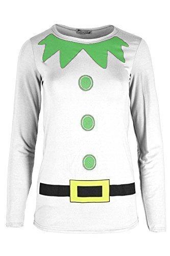 Damen Weihnachten Weihnachtsmann Gürtel Aufdruck Langärmlig Neuheit Schneemann T-shirt Lustig Kostüm Weihnachtsgeschenk Festive Geschenk Elfe Kostüm Gürtel Weiß Langärmlig