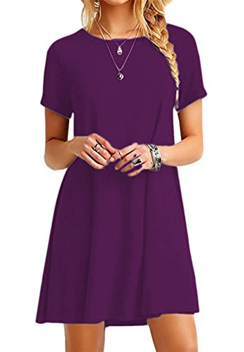 OMZIN Damen Kurzarm Swing Lose Flowy Short Casual Tunika Shirt Minikleid Dark Purple XS -
