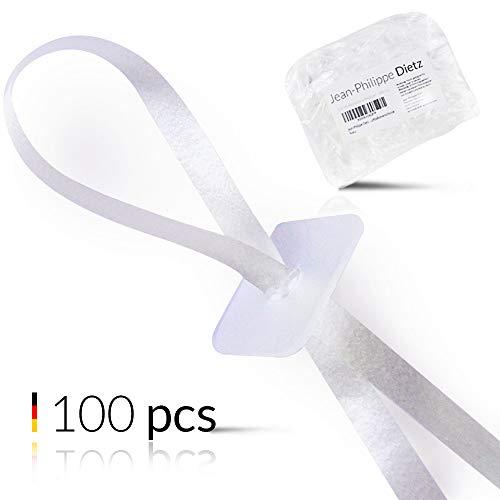Jean-Philippe Dietz 100 Ballonverschlüsse Helium mit Polyband Weiss | Made in Germany | Ballonband mit Schnellverschluss | Ballonverschluss Helium und Luftbefüllung | Premium luftballonverschlüsse