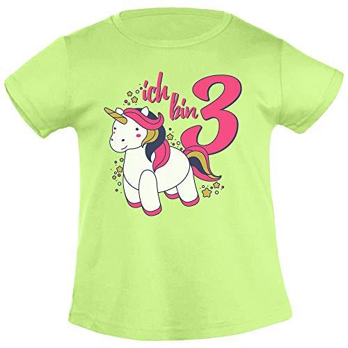 Ich Bin DREI Einhorn Geburtstags Mädchen Mädchen T-Shirt 96/104 (3-4J) Limettengrün
