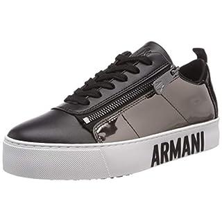 Armani Exchange Women's Mirror Lace Up Snealer Low-Top Sneakers, Gold (Black+Gunmet A323) 5 UK