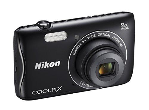 """Nikon Coolpix S3700 Fotocamera Digitale Compatta, 20 Megapixel, Zoom 8X, 3200 ISO, LCD 2,7"""", HD, Colore: Nero [Nital card: 4 anni di garanzia]"""