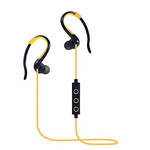 Cuffie Bluetooth,DETOME In Ear Auricolari Wireless auricolari stereo Premium Sound del Basso Sweatproof con eliminazione del rumore per qualsiasi Bluetooth dispositivi multimediali (giallo)