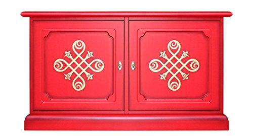 Meuble Buffet bahut Bas 2 Portes, Meuble TV Bas en Bois laqué Rouge avec Frises dorée, ferrures dorées, Design Italien, livré monté