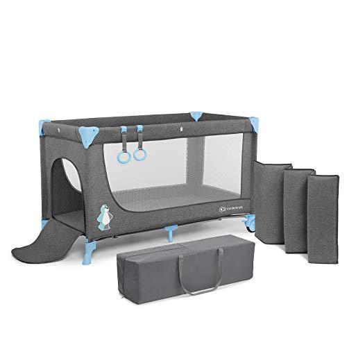 Kinderkraft Cuna de viaje JOY plegado y montaje fácil rápido compacto con accesorios Bolsa de transporte Apertura lateral de 0 meses hasta 15 kg Normativa EN 716 color azul