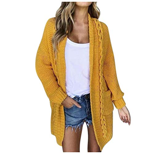 ➤Refill➤Strickjacke Damen Grobstrick Strickmantel strickcardigan Damen Herbst Winter Casual Open Front Sweater Cardigan Cover Up Patchwork Outwear mit Taschen Mantel Jacke