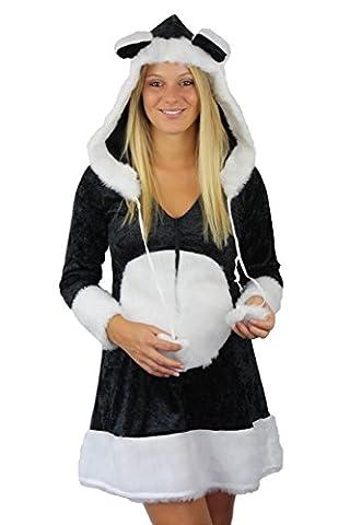 Damen Pandabär Kleid mit Kapuze 1-tlg. (40/42, schwarz
