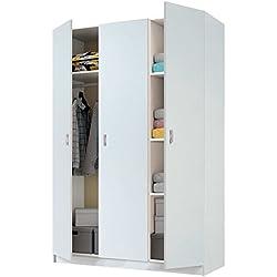 Armario de 3 puertas blanco brillo con estantes, altillo y barra interior incluida de dormitorio. 180cm alto x 120cm ancho x 50cm fondo