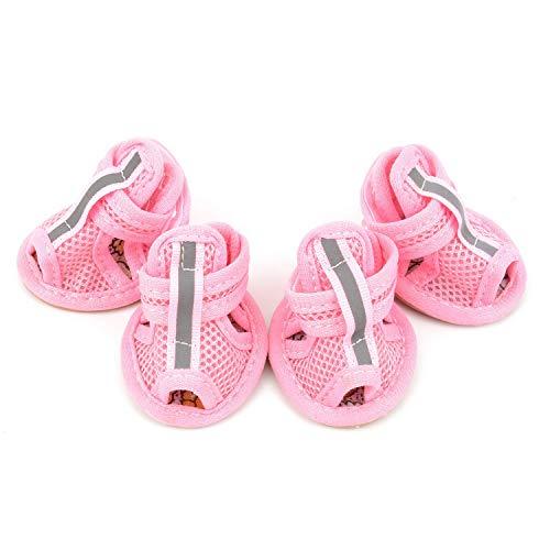zunea Sommer Mesh atmungsaktiv Hund Schuhe Sandalen rutschfeste Pfotenschutz verstellbar Mädchen weiblich, für kleine Haustiere Hund Katze Puppy