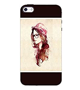 PrintDhaba Hat Girl D-1279 Back Case Cover for APPLE IPHONE 4 (Multi-Coloured)