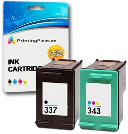 Printing Pleasure 2 Druckerpatronen für HP DeskJet D4160 5940 6980 Officejet 6300 6310 6313 6315 Photosmart 2500 2570 2573 C4110 C4180 D5155 8049 | kompatibel zu HP 337 (C9364EE) & HP 343 (C8766EE)