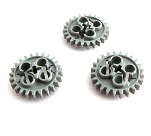 Preisvergleich Produktbild LEGO ® Technic - 3 Stück - Zahnrad Zahnräder 24 Zähne - 25 mm Durchmesser - hellgrau - 3648
