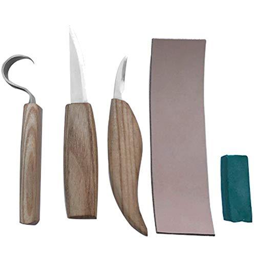 Hamkaw Kit Intaglio Legno Professionale Set Utensili per Intaglio Legno con 3 Coltello da Intaglio + Cuoio per Affilare + Cera Lucidante + Custodia in Tela
