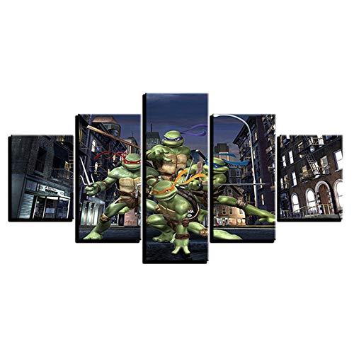 SHANYUR Bilder Vlies Leinwandbild Kunstdruck modern Wandbilder Wanddekoration Design Wand Bild 5 Pcs/Set Teenage Mutant Ninja Turtle 80/60/40x30(cm) with Frames